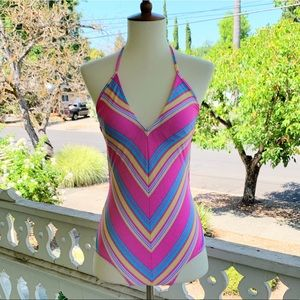 Vintage 80s Monterey Candy Striped Bathing Suit